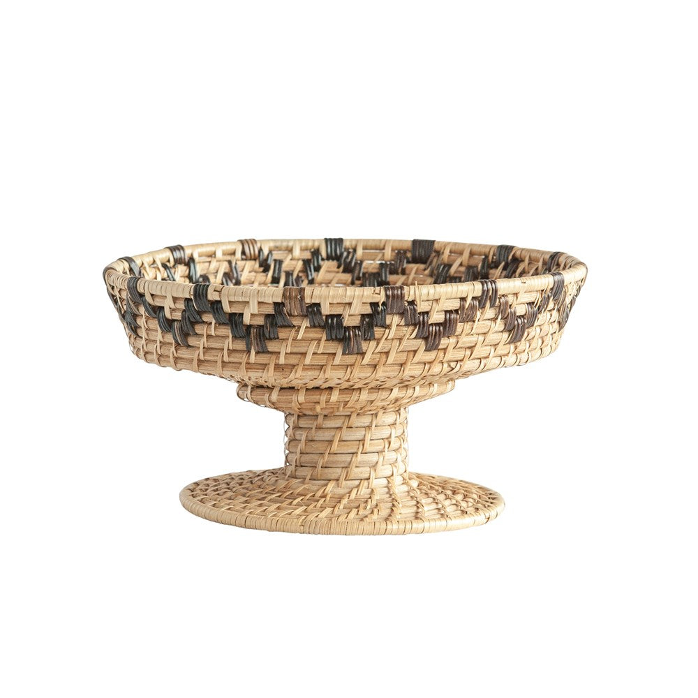 Hand-Woven Rattan Decorative Pedestal Bowl, Natural & Black