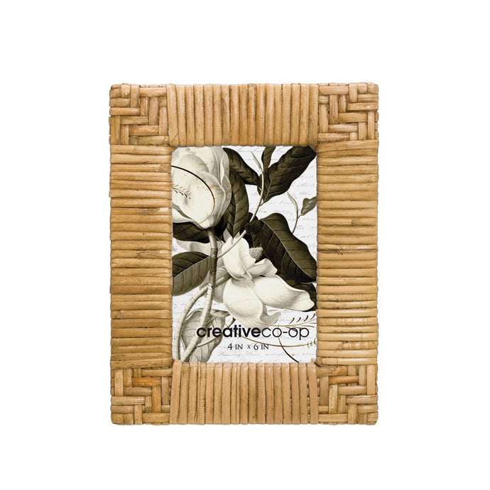 Hand-Woven Rattan Photo Frame