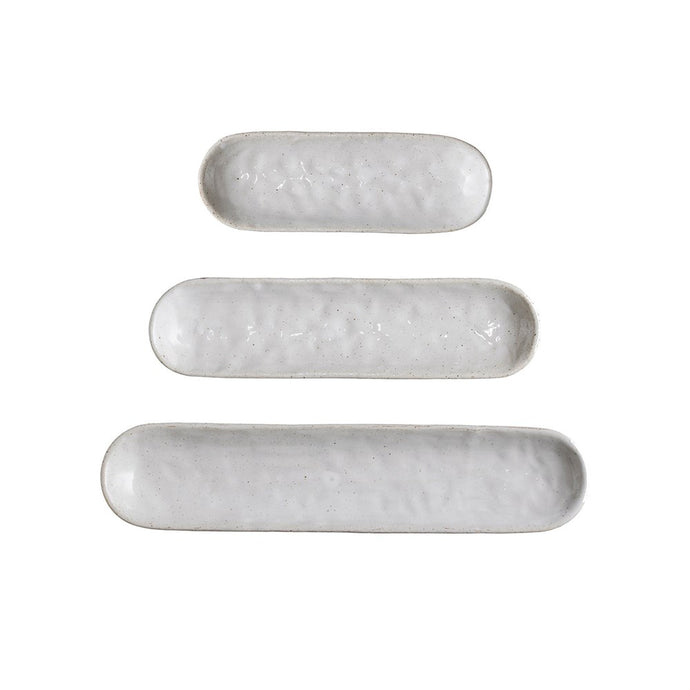 Stoneware Trays, White, Set of 3