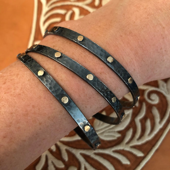 Hammered Bangles with gold dots