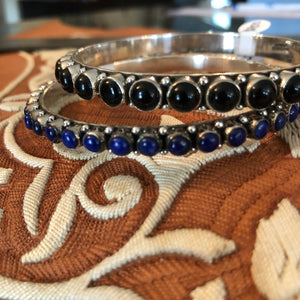Solid Stone Bangles - Blue & Black 3mm