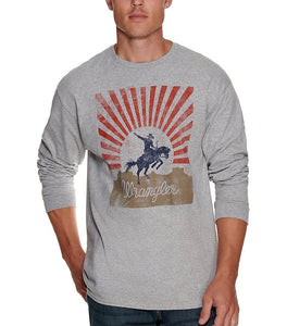 Wrangler Grey Bronc Logo Graphic Long Sleeve T-Shirt