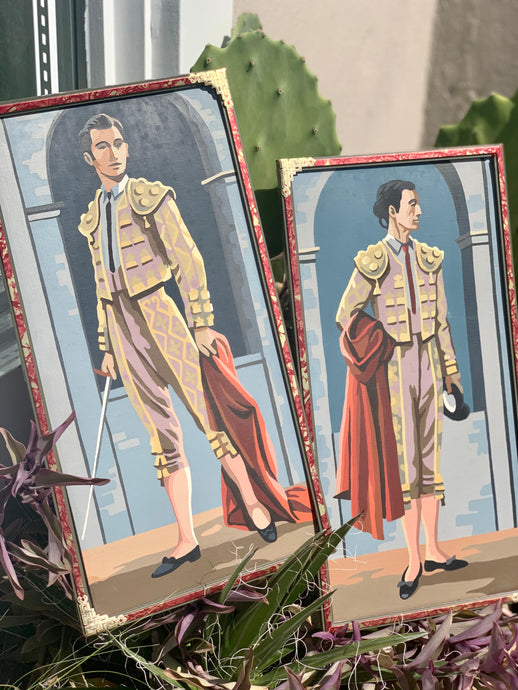 Two Vintage Framed Matador Bullfighter Paint By Numbers