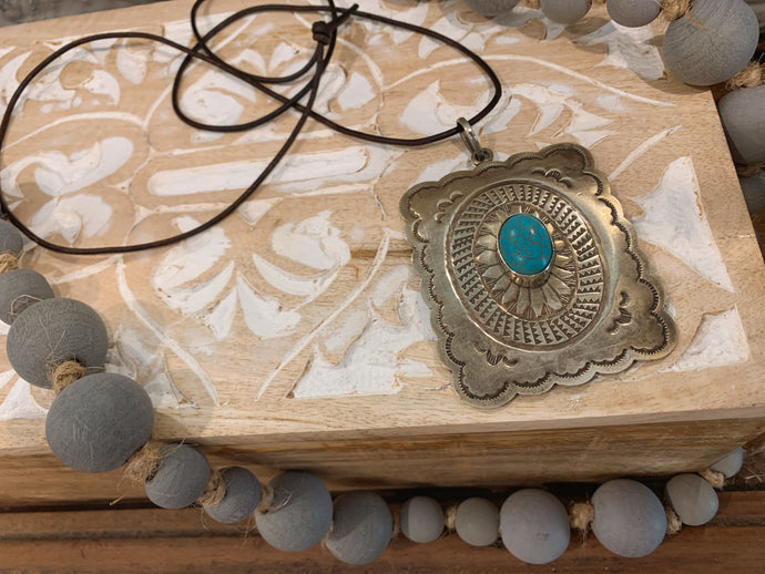 Stamped Necklace w/ Leather