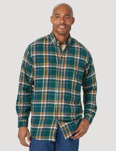 Wrangler Rugged Wear Green Plaid Flannel