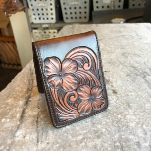 Floral Tooled Wallet - Two Tone