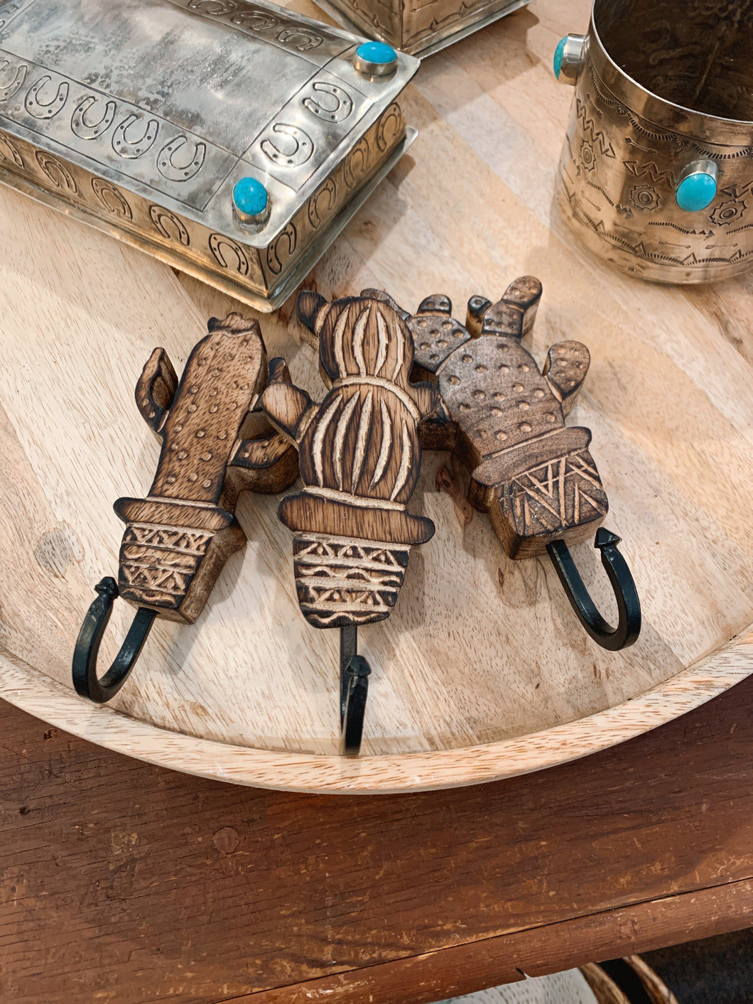 Wooden Cactus Wall Hooks