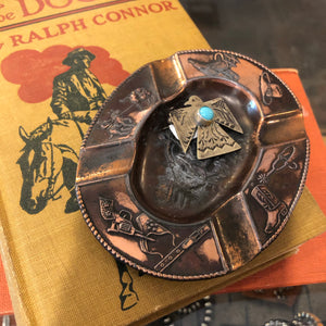Cowboy tin ashtray