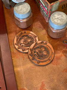 Tooled Leather Coasters- Set of 2