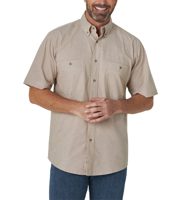 Wrangler RW Short Sleeve Tan Button Down