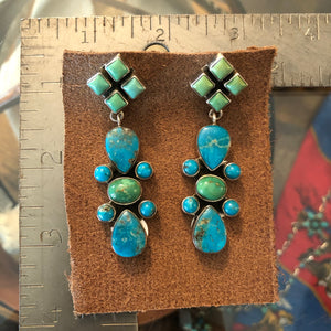Green & Blue Turquoise Earrings