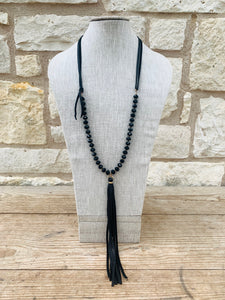 Black Crystal w/ Leather Tassel