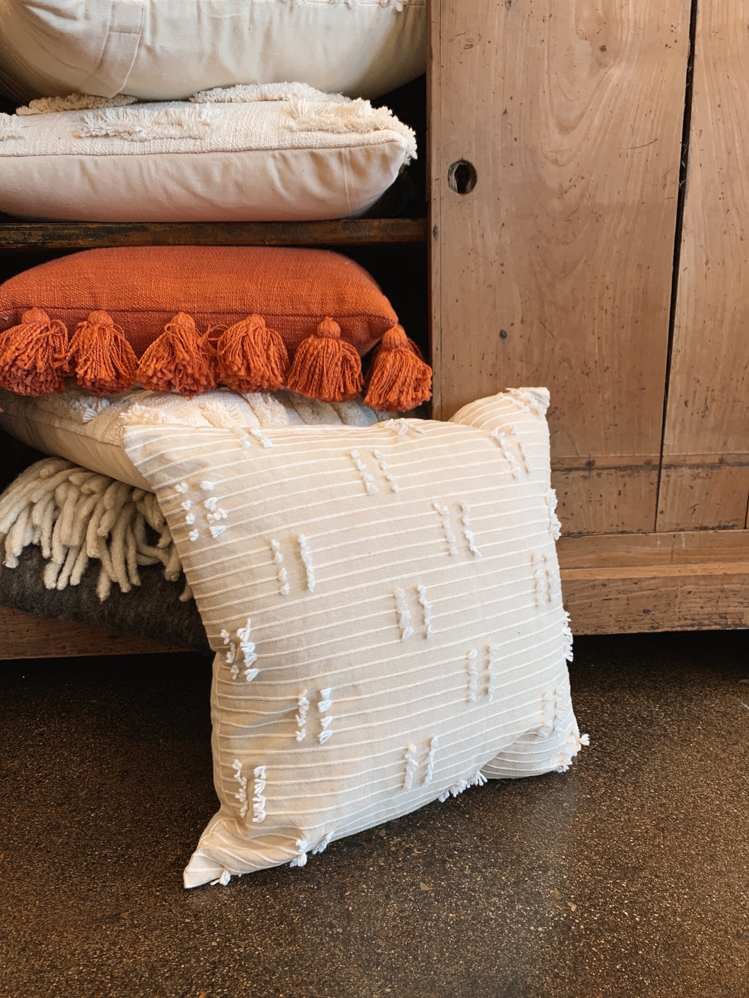 Square Woven Cotton Pillow w/ Tassels