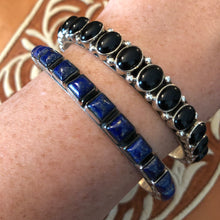Load image into Gallery viewer, Solid Stone Bangles - Blue & Black 5mm