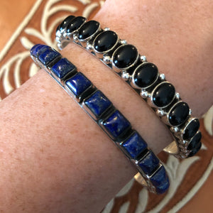 Solid Stone Bangles - Blue & Black 5mm