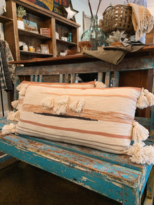 Long Striped Pillow with Tassels