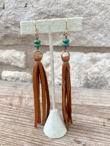 Leather Tassel with Stone Earrings
