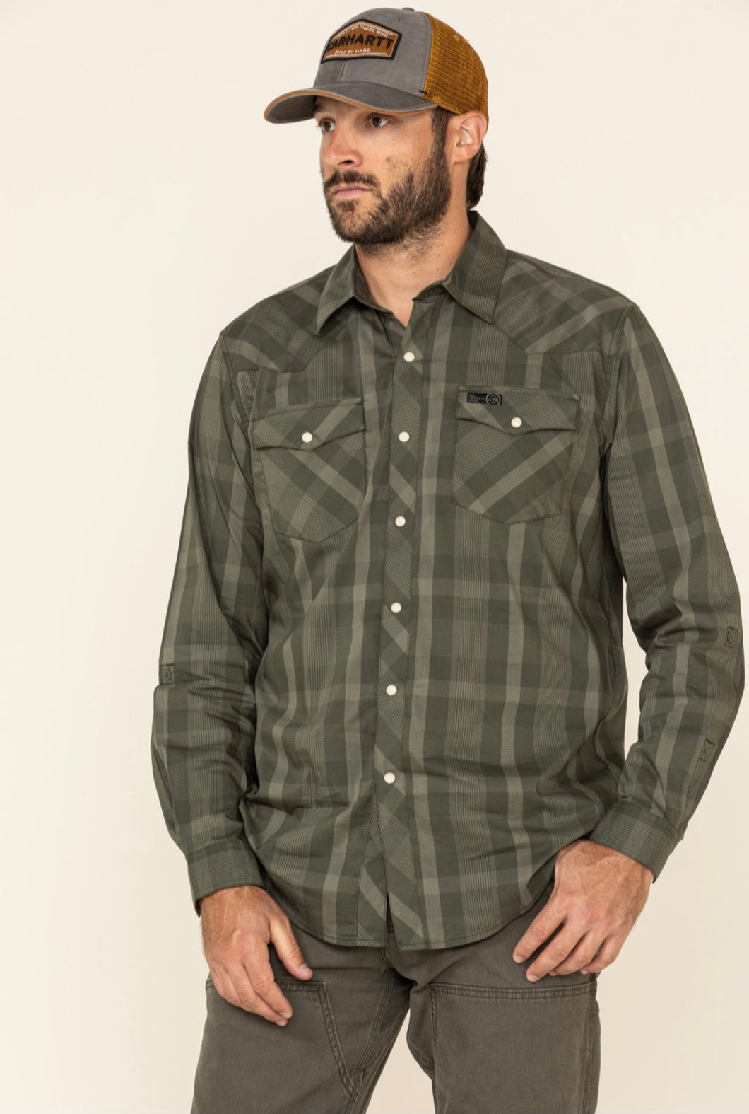 Wrangler Green Plaid Utility Shirt