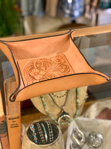 Square Leather Tooled Catchall