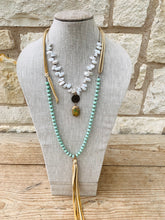 Load image into Gallery viewer, Mint Crystal w/ Leather Tassel