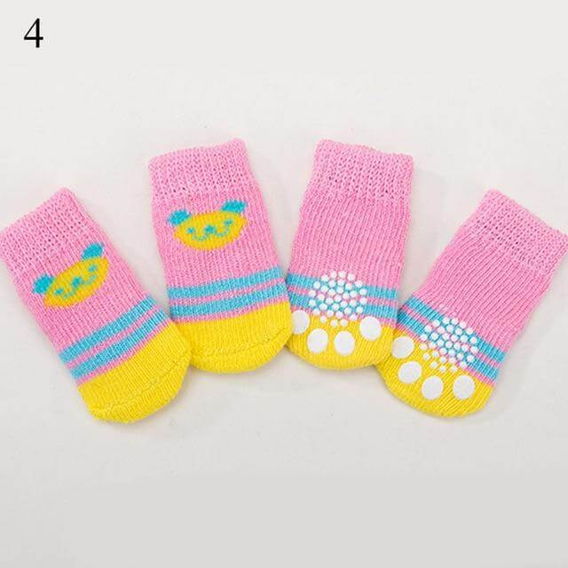 4pcs/Set Cute Puppy Dog Knit Socks-4.90-DOG, dog accessories, Dog Knit Socks, Doggo Care, for dogs, Slip On Paw Protector