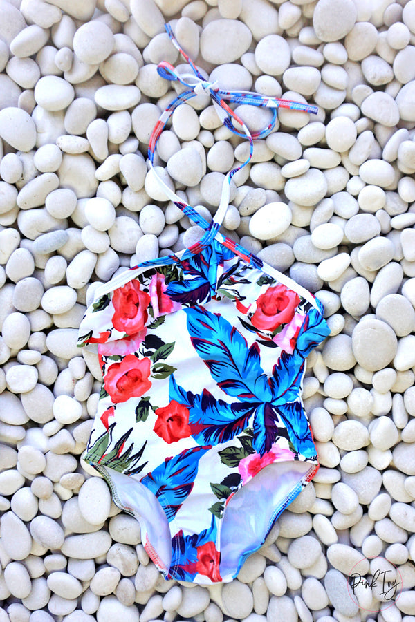 Pink & Blue Floral One Piece - Child