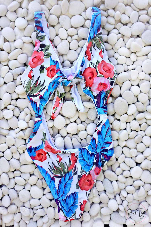 Pink & Blue Floral One Piece - Adult