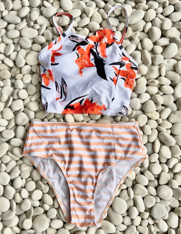 Peach & Orange Stripe High Waist Two Piece