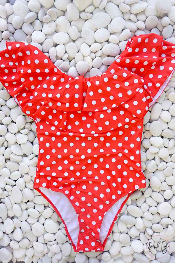 Red & White Polka Dot One Piece - Child
