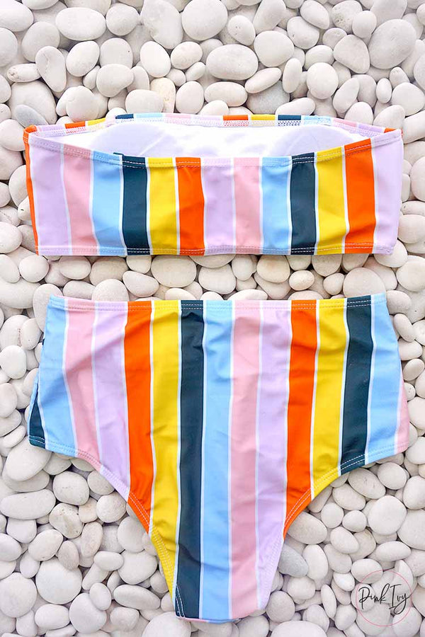 Vintage Rainbow High Waist Two Piece