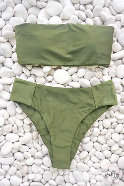 Army Green Bandeau Two Piece