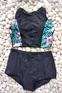 Tropical Print High Waist Two Piece