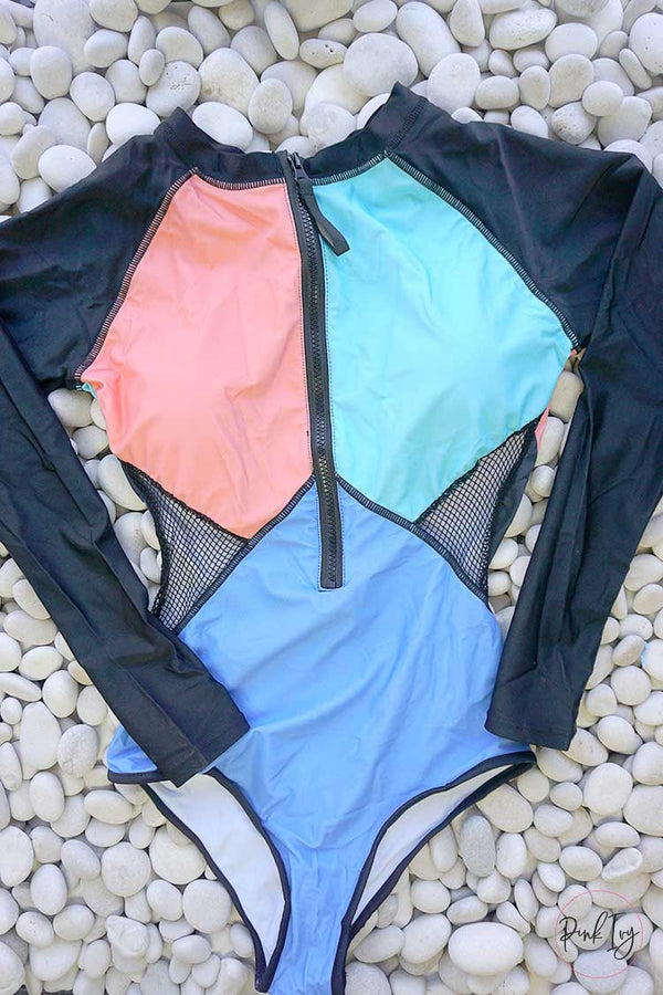 Color Block Body Rash Guard