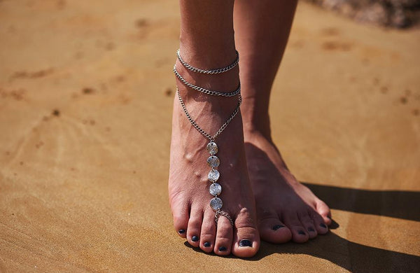 Bohemian Silver Coin Tassel Anklet