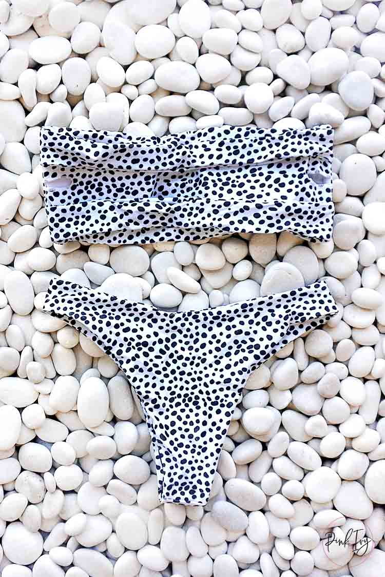 White & Black Dotted Bandeau Two Piece