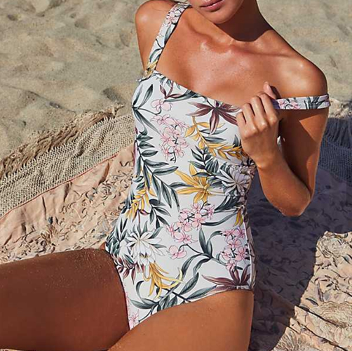 White Abstract  Floral One Piece