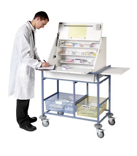 Ward Drug & Medicine Dispensing Trolley (keyed to differ) - Large Capacity with divider system & 2 storage trays