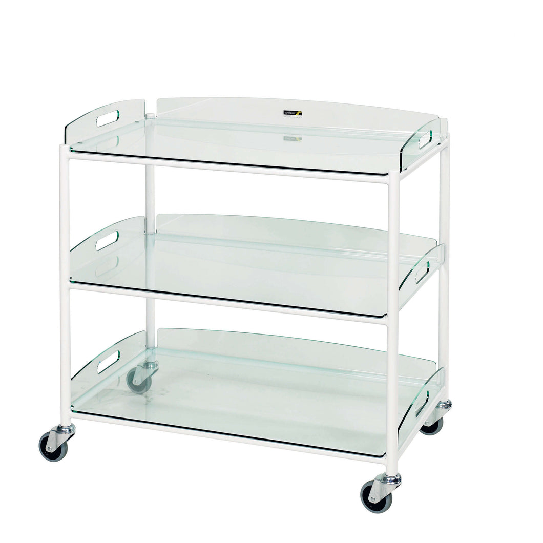 Dressing Trolley, 3 Glass Effect Safety Trays