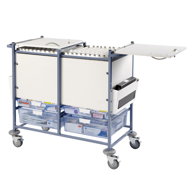 Medical Notes Trolley (Large) - Enclosed sides with hinged locking tops