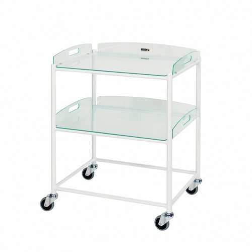 Dressing Trolley, 2 Glass Effect Safety Trays