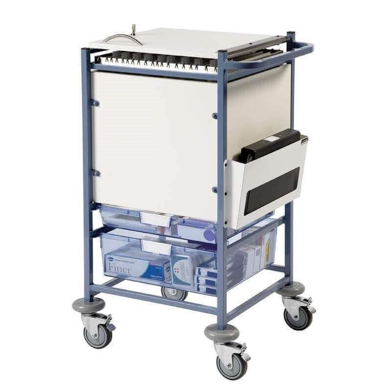 Medical Notes Trolley (Large) - Enclosed Sides with Hinged Top and 2 Digital Combination Locks