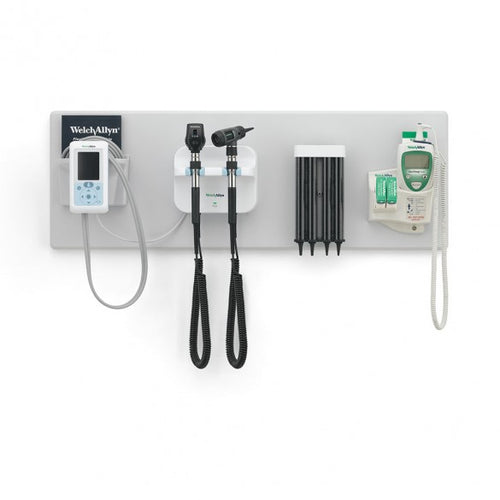 Welch Allyn Green Series 777 Integrated Wall System With Coaxial Ophthalmoscope, MacroView Otoscope, Connex BP + SureTemp Thermometer