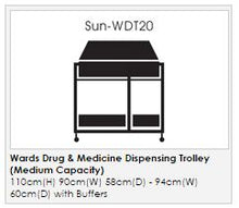 Load image into Gallery viewer, Ward Drug & Medicine Dispensing Trolley (keyed to differ) - Medium Capacity with divider system & 2 storage trays