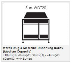 Ward Drug & Medicine Dispensing Trolley (keyed to differ) - Medium Capacity with divider system & 2 storage trays