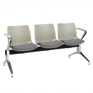 Neptune Visitor 3 Seat Module with 3 Grey Intervene Material Upholstered Seat Pads