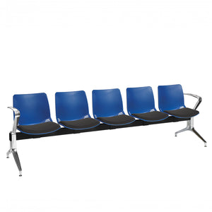 Neptune Visitor 5 Seat Module with 5 Black Intervene Material Upholstered Seat Pads