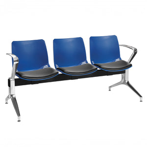 Neptune Visitor 3 Seat Module with 3 Black Vinyl Upholstered Seat Pads