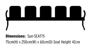 Neptune Visitor 5 Seat Module with 5 Black Vinyl Upholstered Seat Pads