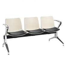 Load image into Gallery viewer, Neptune Visitor 3 Seat Module with 3 Black Vinyl Upholstered Seat Pads