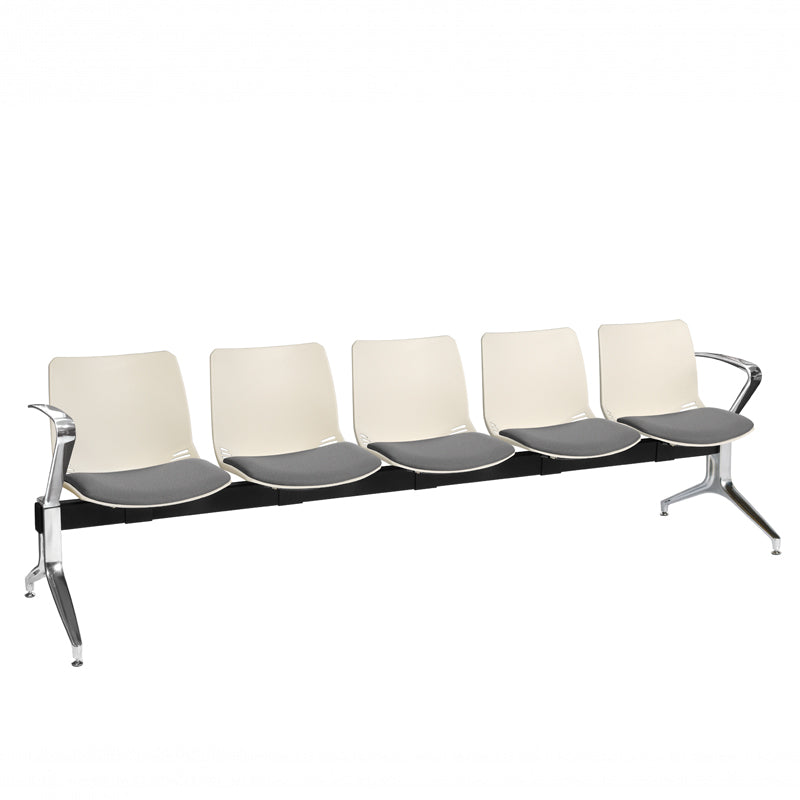 Neptune Visitor 5 Seat Module with 5 Grey Intervene Material Upholstered Seat Pads